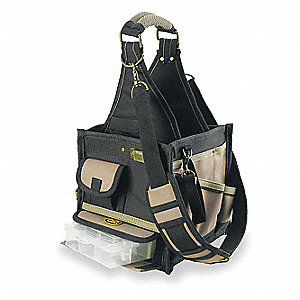 Synthetic Tool Tote, Electricians, Number of Pockets: 22, Black, Tan