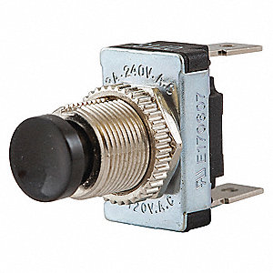 SPST Miniature Push Button Switch, Off/Momentary On with Screw Terminals