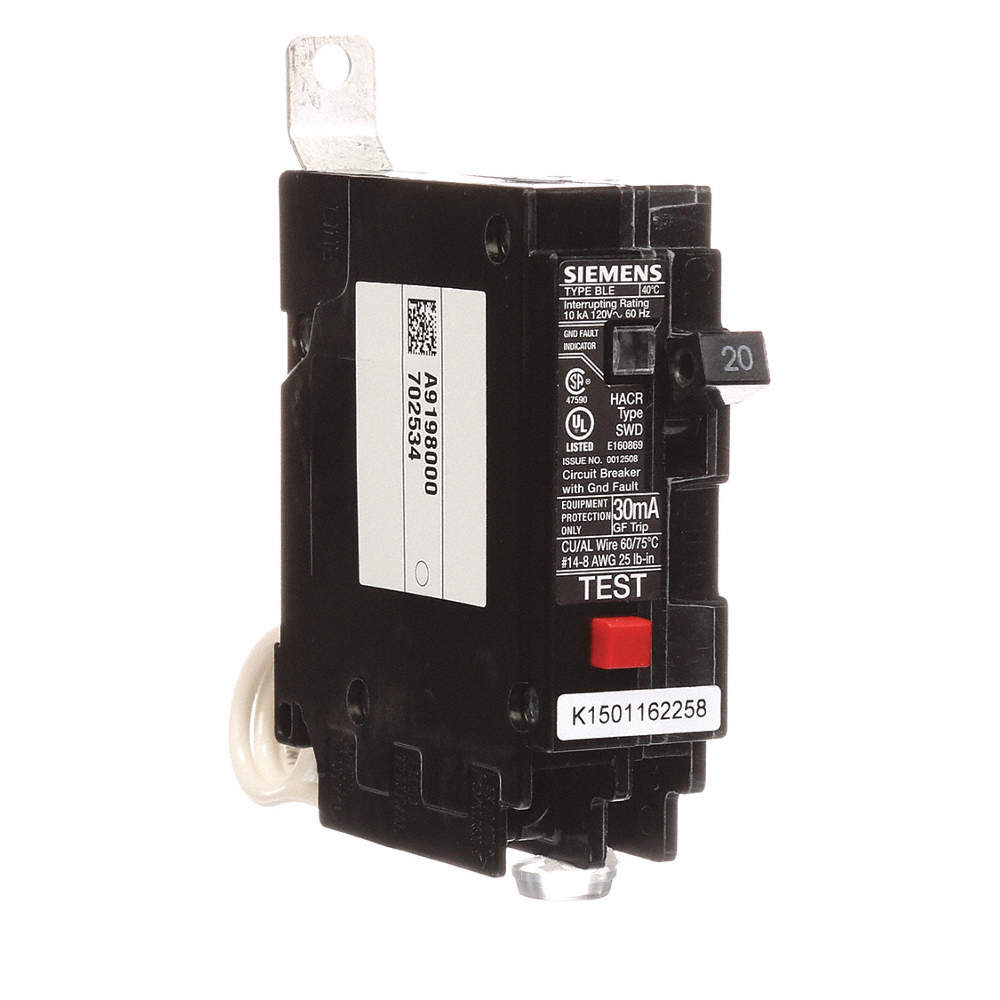 SIEMENS Bolt On Circuit Breaker, 20 Amps, Number of Poles: 1, 120VAC ...
