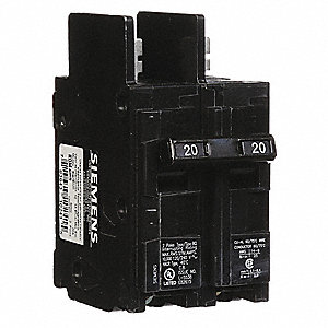 Bolt On Circuit Breaker, 20 Amps, Number of Poles:  2, 120/240VAC AC Voltage Rating