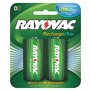 D Pre-Charged Rechargeable Battery, Recharge Plus, Nickel-Metal Hydride, PK2