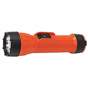 Industrial Incandescent Industrial Handheld Flashlight, Polymer, Orange