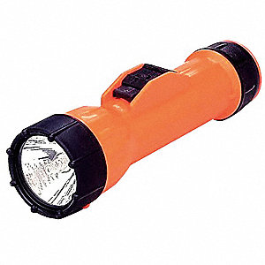 Industrial Incandescent Handheld Flashlight, Plastic, Orange