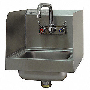 Hand Sink,Stainless Steel,Wall,12 In. W