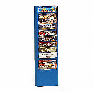 Magazine Wall Display,11 Compart,Blue