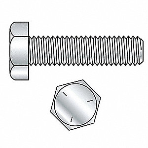 "1/4""-20, Steel Hex Tap Bolt, Grade 5, 2""L, Zinc Plated Finish, 1200 PK"