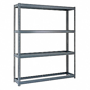 "Freestanding Boltless Shelving with None Decking, 4 Shelves, 42""W x 16-15/16""D x 84""H"