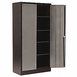 "Storage Cabinet, Black/Silver, 72"" Overall Height, Unassembled"