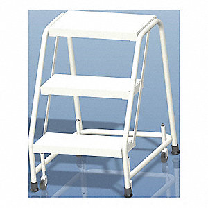 "3-Step Rolling Ladder, Rubber Mat Step Tread, 28-1/2"" Overall Height, 350 lb. Load Capacity"