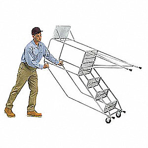 "4-Step Tilt and Roll Ladder, Expanded Metal Step Tread, 73"" Overall Height, 450 lb. Load Capacity"