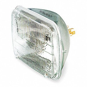 42/65 Watts Halogen Sealed Beam Lamp, Rectangular, 3 Contact Lugs, 3000K Bulb Color Temp.