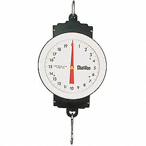 Mechanical Hanging Scale, Analog Dial Display, 60 lb. Capacity, 0.3 lb. Graduations