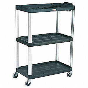 "36-1/2""L x 20""W Black Utility Cart, 300 lb. Load Capacity, Number of Shelves: 3"