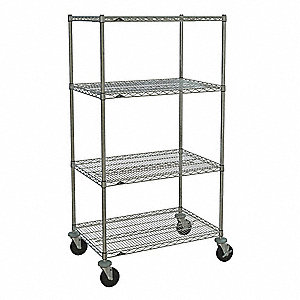 "Mobile Wire Shelving Unit, 36""W x 24""D x 67-7/8""H, 4 Shelves, Chrome Plated Finish, Silver"