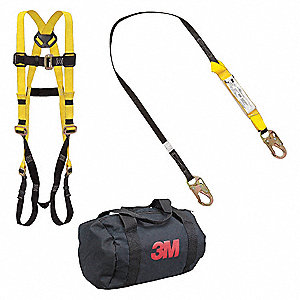 Yellow, Universal Size Fall Protection Kit, 310 lb. Weight Capacity, Mating Leg Strap Buckles