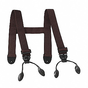 "1-1/2""W H-back Chest Wader Suspenders for Button Style Chest Waders, Brown"