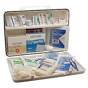 First Aid Kit,Bulk,White,21 Pcs,50 Ppl