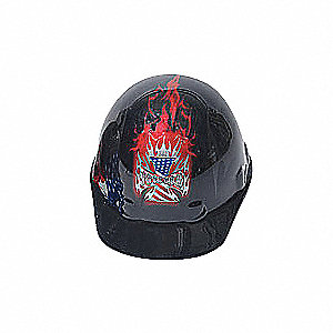 "Front Brim Hard Hat, Black, Hat Size: 7"" to 8-1/2"""