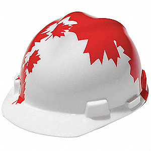 Front Brim Hard Hat, 4 pt. Ratchet Suspension, Red/White, Hat Size: 6-1/2 to 8