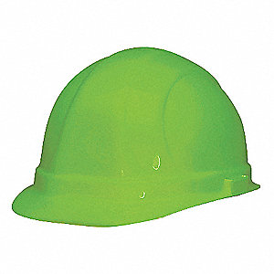 Front Brim Hard Hat, 6 pt. Ratchet Suspension, Hi-Visibility Green, Hat Size: 6-1/2 to 8