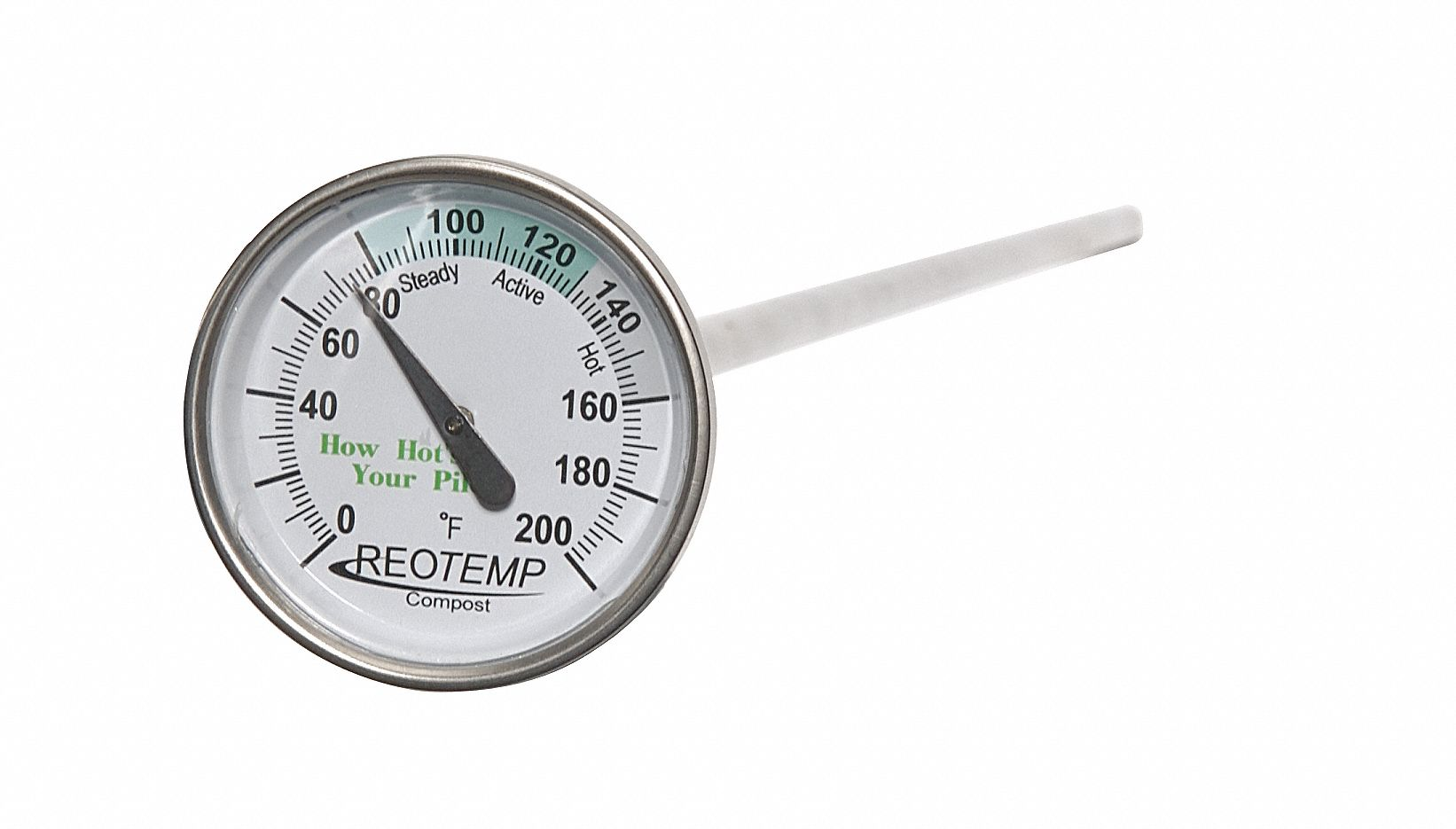 Compost Dial Thermometer,  Bimetal,  2 in Dial Size,  Plain Bushing Connection Size