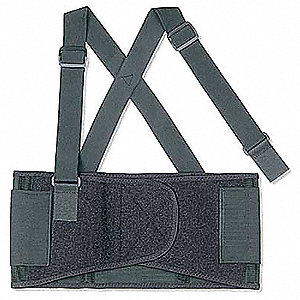 "Elastic Back Support XS, 7-1/2"" Width Fits Waist Size 22"" to 25"", Black"