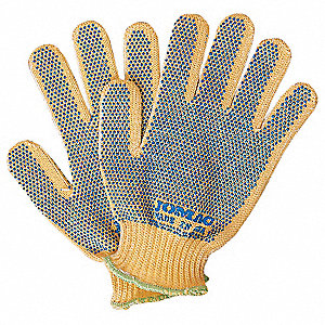 Uncoated Cut Resistant Gloves, ANSI/ISEA Cut Level 2, Kevlar® Lining, Yellow, Universal, PR 1
