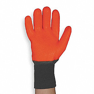 PVC Chemical Resistant Gloves, 10 mil Thickness, Thermal Foam Lining, Size L, Orange, PR 1