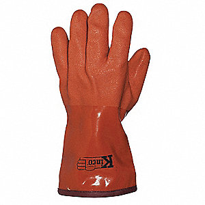 PVC Chemical Resistant Gloves, 10 mil Thickness, Thermal Acrylic Lining, Size L, Orange, PR 1
