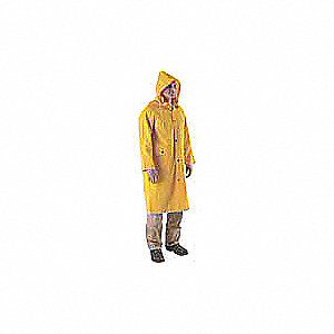 "Men's Yellow PVC Rain Coat, Size XL, Fits Chest Size 48"" to 50"", 49"" Jacket Length"