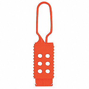 "7"" Nylon/Non-Conductive Standard Lockout Hasp, Orange"