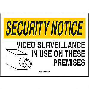 Security Sign,14 x 20In,BK and YEL/WHT