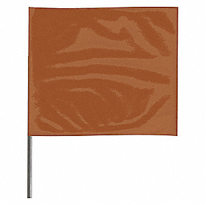 "Brown Marking Flag, 4"" Flag Height, Solid Pattern, Blank"