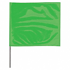 "Marking Flag,18"", Glo Green,PVC,PK100"