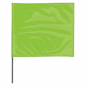 "Fluorescent Lime Marking Flag, 4"" Flag Height, Solid Pattern, Blank"