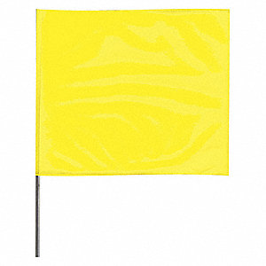 "Fluorescent Yellow Marking Flag, 4"" Flag Height, Solid Pattern, Blank"