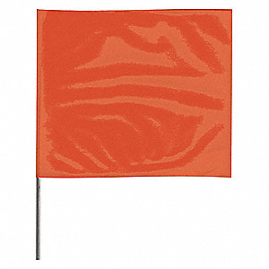 "Orange Marking Flag, 4"" Flag Height, Solid Pattern, Blank"