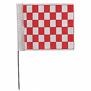 "Checkered Red On White Marking Flag, 4"" Flag Height, Checkered Pattern, Blank"