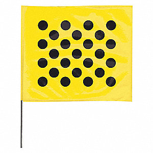 "Black Polka Dots On Yellow Marking Flag, 4"" Flag Height, Polka Dots Pattern, Blank"