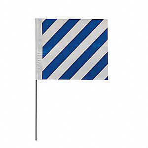 "Blue Stripes On White Marking Flag, 4"" Flag Height, Stripes Pattern, Blank"