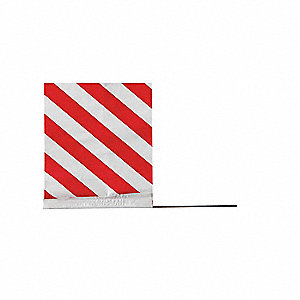 "Red Stripes On White Marking Flag, 4"" Flag Height, Stripes Pattern, Blank"