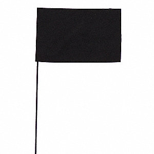 "Black Marking Flag, 2.5"" Flag Height, Solid Pattern, Blank"