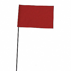 "Red Marking Flag, 5"" Flag Height, Solid Pattern, Blank"