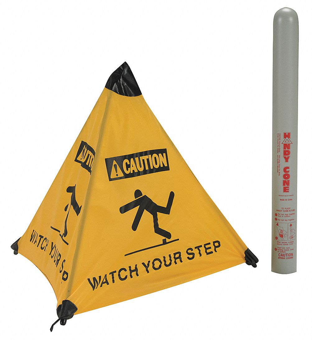 Folding Safety Cone,  Sign Header Caution,  Watch Your Step,  Number of Printed Sides 4,  Nylon