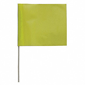 "Lime Glo Marking Flag, 4"" Flag Height, Solid Pattern, Blank"