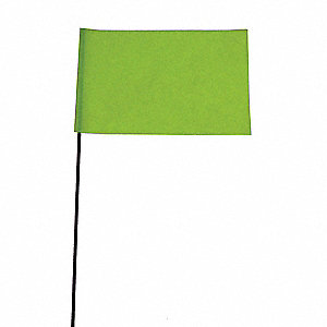 "Fluorescent Lime Marking Flag, 2.5"" Flag Height, Solid Pattern, Blank"