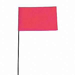 "Fluorescent Pink Marking Flag, 2-1/2"" Flag Height, Solid Pattern, Blank"