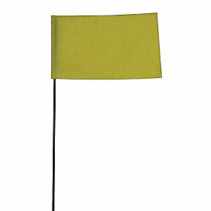 "Fluorescent Yellow Marking Flag, 2-1/2"" Flag Height, Solid Pattern, Blank"