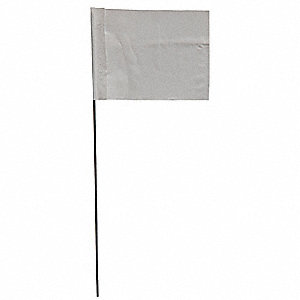 "White Marking Flag, 2.5"" Flag Height, Solid Pattern, Blank"