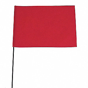 "Fluorescent Red Marking Flag, 5"" Flag Height, Solid Pattern, Blank"